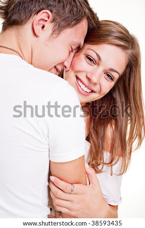 portrait of merry young couple - stock photo