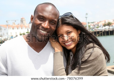 Portrait of metis couple in town - stock photo
