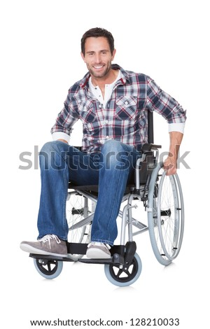 Portrait of middle age man in wheelchair. Isolated on white - stock photo