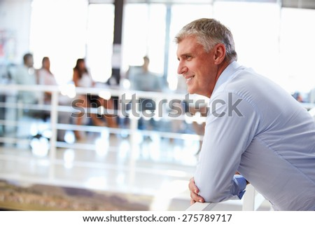 Portrait of middle aged man in office, side view - stock photo