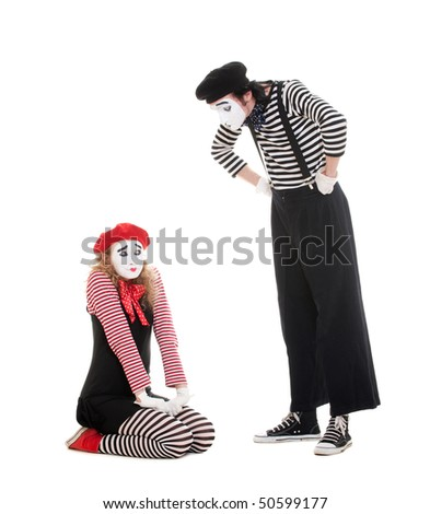 portrait of mimes. angry man and guilty woman. isolated on white - stock photo