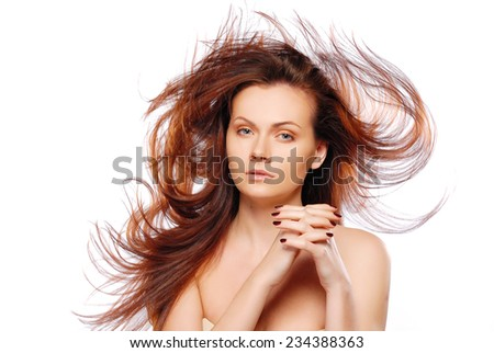 Portrait of model with good hair - stock photo