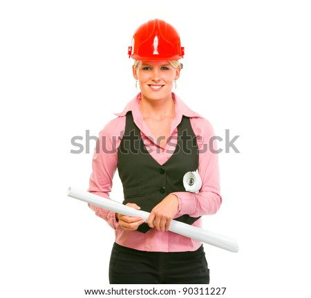 Portrait of modern architect woman with flipcharts in hands - stock photo