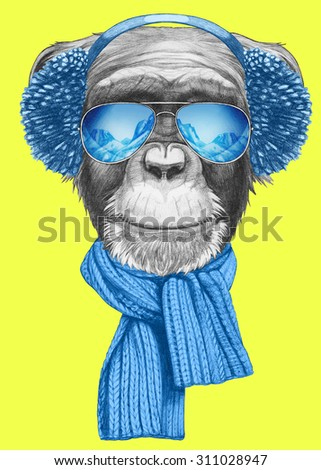 http://thumb101.shutterstock.com/display_pic_with_logo/2862790/311028947/stock-photo-portrait-of-monkey-with-scarf-earmuffs-and-sunglasses-hand-drawn-illustration-311028947.jpg