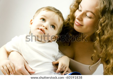 Portrait of mother and child - stock photo