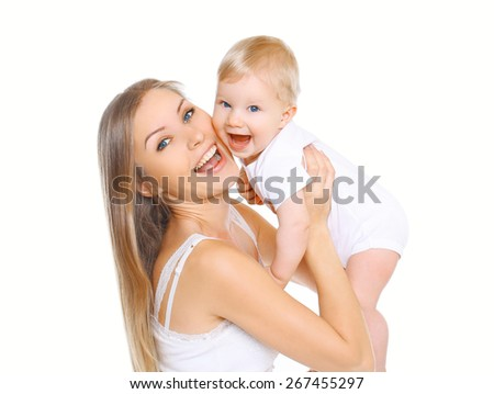 Portrait of mother and child having fun together on a white background - stock photo