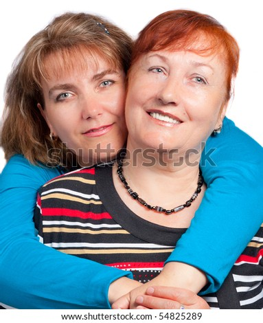 Portrait of mother and daughter. - stock photo