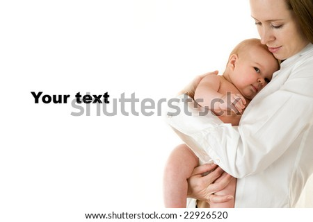 Portrait of mother holding a young baby. Isolated on white background. - stock photo