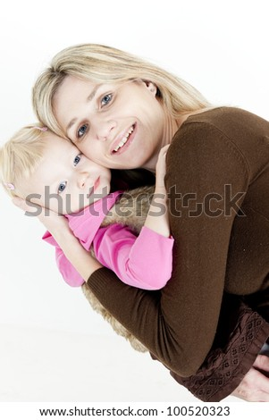 portrait of mother with her little daughter - stock photo