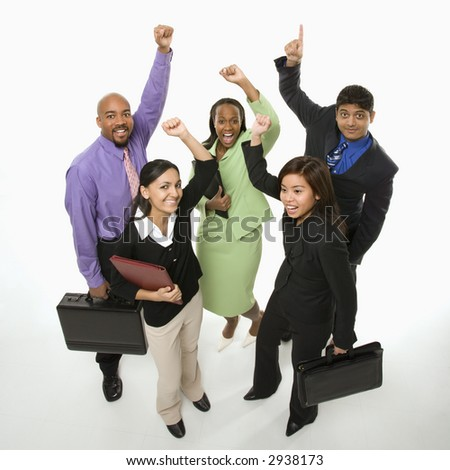 Portrait of multi-ethnic business group standing holding briefcases and cheering. - stock photo