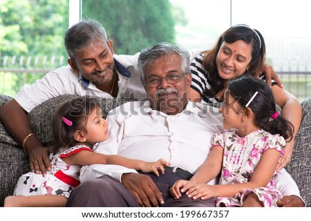 Portrait of multi generations Indian family at home. Asian people living lifestyle. - stock photo