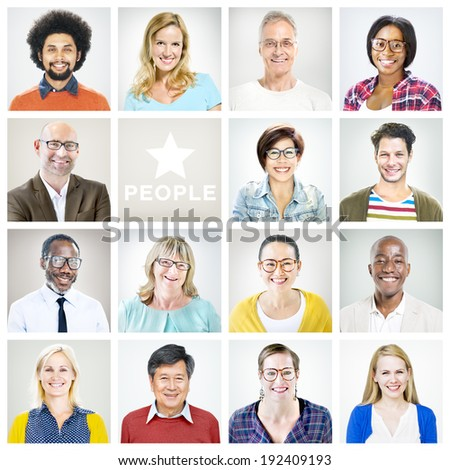 Portrait of Multiethnic Colorful Cheerful People - stock photo
