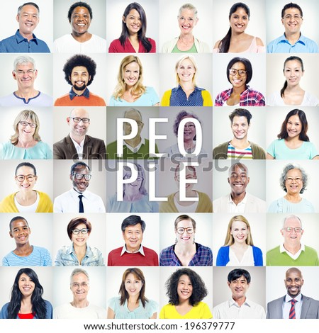 Portrait of Multiethnic Diverse Colorful People - stock photo