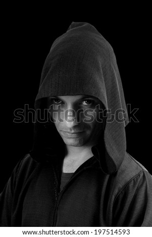 Portrait of mystery preaching monk - stock photo