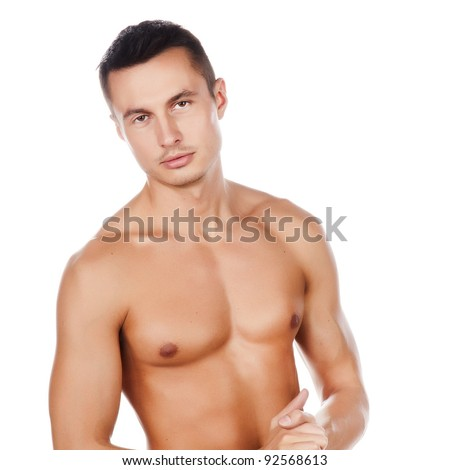 portrait of naked attractive positive young caucasian man, face and torso of young beauty man, nice muscle caucasian sportsman, perfect man body, isolated on white background image - stock photo