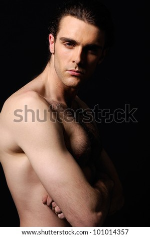 portrait of naked attractive positive young man, - stock photo