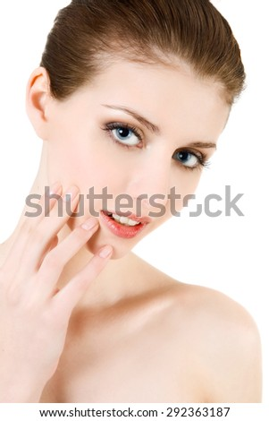 Portrait of naked beautiful young woman (head and shoulders) looking at camera at the white background - stock photo