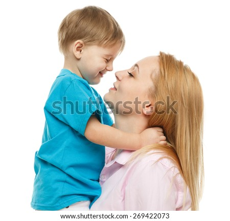 Portrait of nice boy (child, kid) with mother on white background , pretty woman and cute cheerful child play game; happy smiling young lady hugging son -  family and mother`s  day concept - stock photo