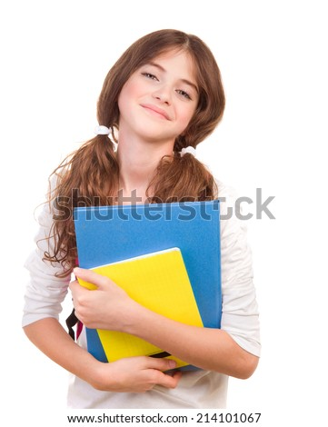Portrait of nice happy schoolgirl with books in hands isolated on white background, preparing to lessons, back to school, education concept - stock photo