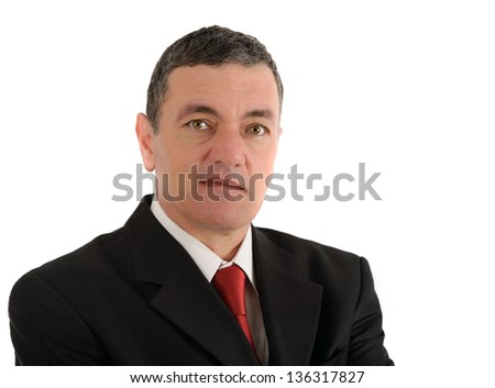 Portrait of old business man isolated on white background - stock photo