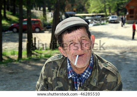 Portrait of Old Guzul Man - stock photo