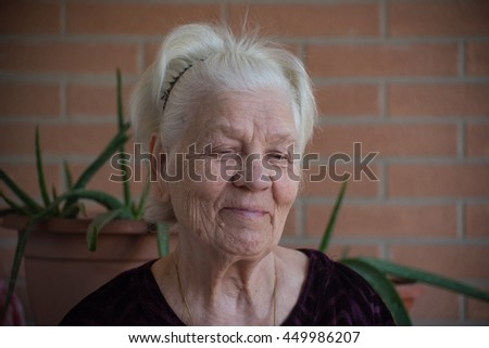 Portrait of old woman on a brick blurred background - stock photo