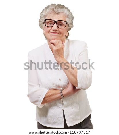Portrait Of Old Woman On White Background - stock photo