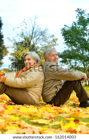 Portrait of older couple on the background of the autumn landscape - stock photo