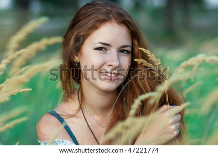 portrait of one beautiful young girl outdoor - stock photo