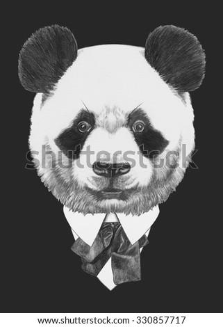 Portrait of Panda in suit. Hand drawn illustration. - stock photo
