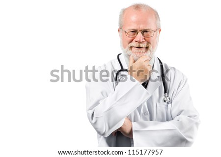 Portrait of pensive senior medical doctor isolated over white background - stock photo