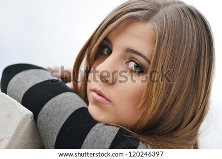 portrait of pensive teen girl - stock photo