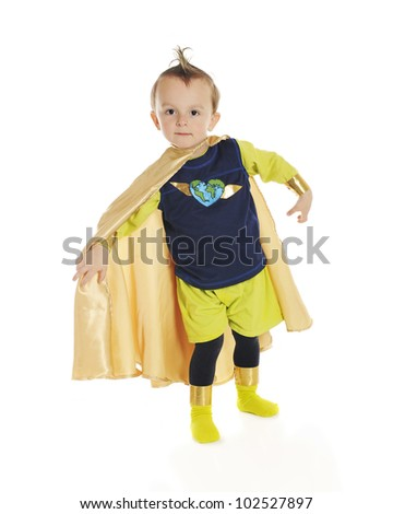 """Portrait of """"Planet Man"""", an adorable, preschool superhero whose job is to protect the ecology.  On a white background. - stock photo"""