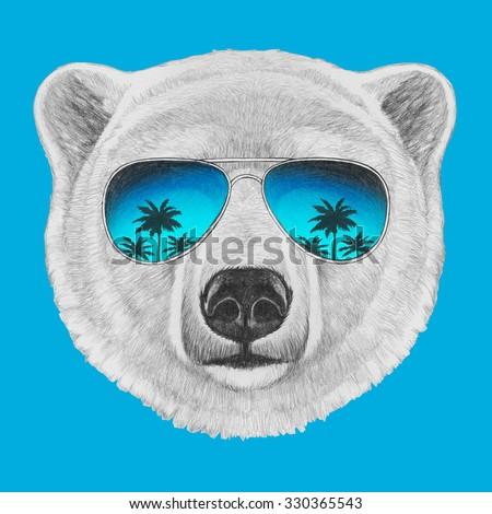 Portrait of Polar Bear with mirror sunglasses. Hand drawn illustration. - stock photo