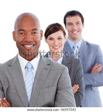 Portrait of positive business team against a white background - stock photo