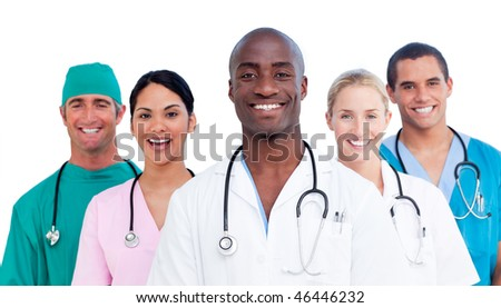 Portrait of positive medical team against a white background - stock photo
