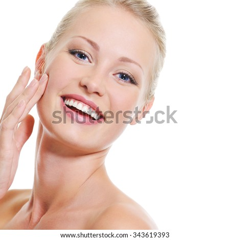 Portrait of pretty beautiful woman with healthy clear skin - over white - stock photo