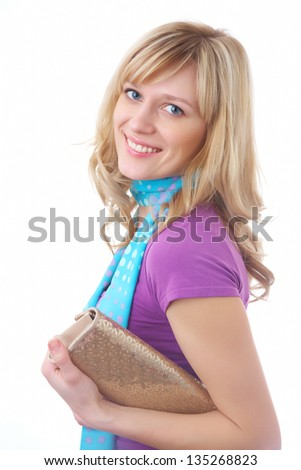 Portrait of pretty blonde woman with handbag on the white background - stock photo