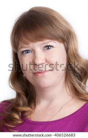 Portrait of pretty Caucasian woman with curly hair and blue eyes, isolated on white background - stock photo
