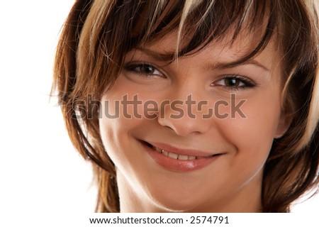 Portrait of  pretty girl on white background - stock photo