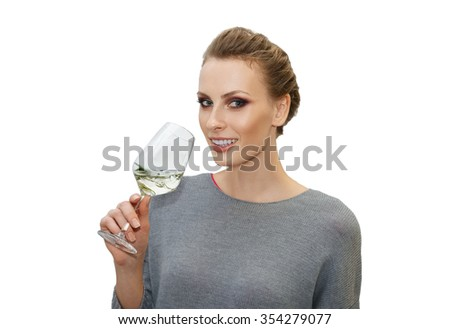 portrait of pretty girl with cocktail in glass - stock photo