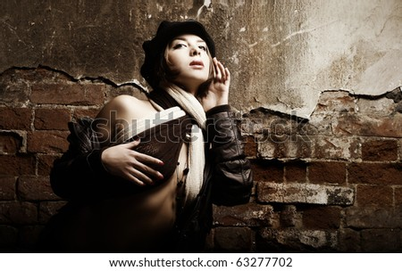 Portrait of pretty glamour young woman in retro style - stock photo