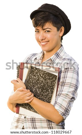 Portrait of Pretty Mixed Race Female Student Holding Books Isolated on a White Background. - stock photo