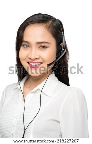 Portrait of pretty support center operator - stock photo