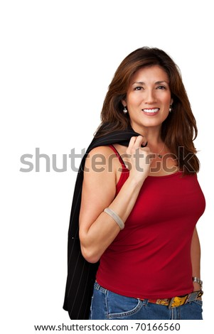 Portrait of pretty woman wearing red blouse holding black jacket over shoulder.  Isolated on white background. - stock photo