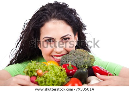 portrait of pretty woman with vegetables - stock photo