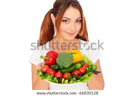 portrait of pretty woman with vegetables. isolated on white - stock photo