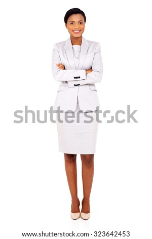 portrait of pretty young african business executive standing on white background - stock photo