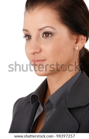 Portrait of pretty young businesswoman, half side view. - stock photo