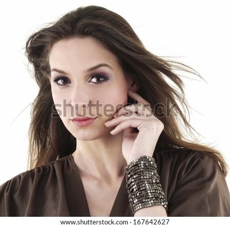 Portrait of pretty young woman-closeup - stock photo